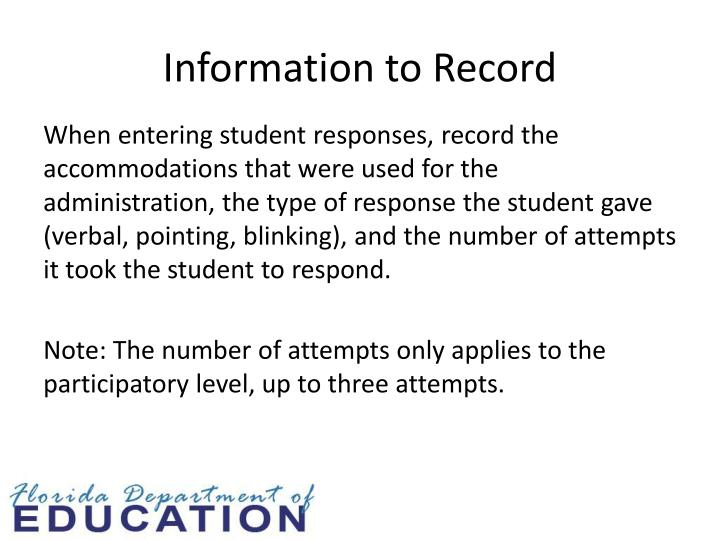 Information to Record