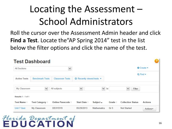 Locating the Assessment –