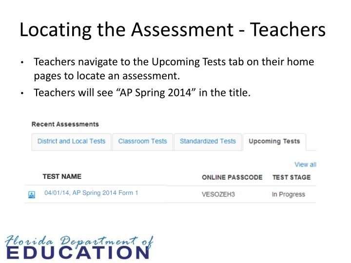 Locating the Assessment - Teachers