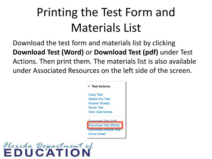 Printing the Test Form and Materials List
