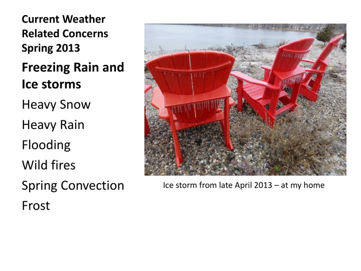 Current Weather Related Concerns Spring 2013