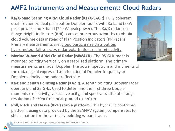 Amf2 instruments and measurement cloud radars