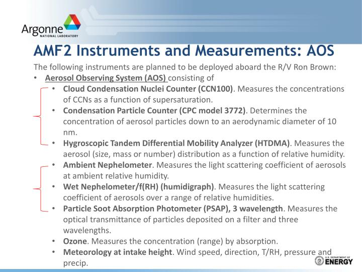 Amf2 instruments and measurements aos