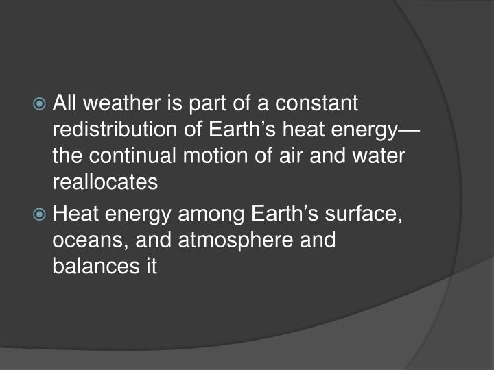 All weather is part of a constant redistribution of Earth's heat energy—the continual motion of air and water reallocates
