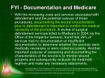 fyi documentation and medicare