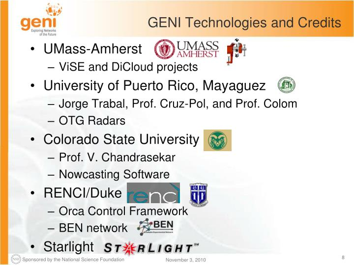 GENI Technologies and Credits