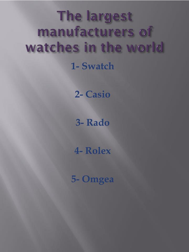 The largest manufacturers of watches in the world