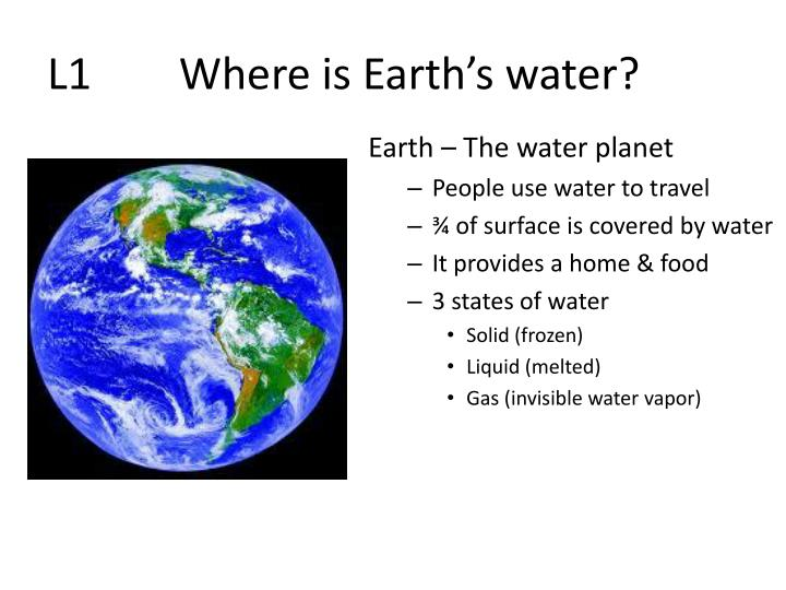 L1 where is earth s water