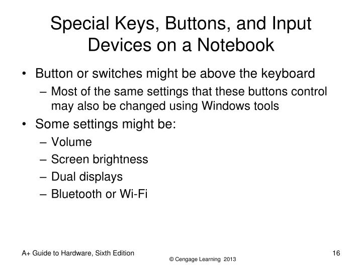 Special Keys, Buttons, and Input Devices on a Notebook