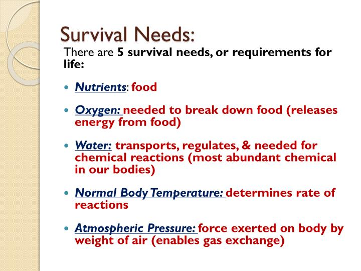Survival Needs: