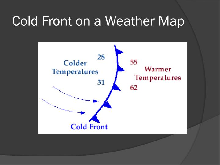 Cold Front on a Weather Map
