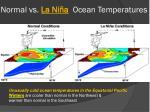 normal vs la ni a ocean temperatures