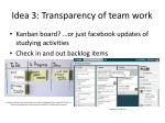 idea 3 transparency of team work