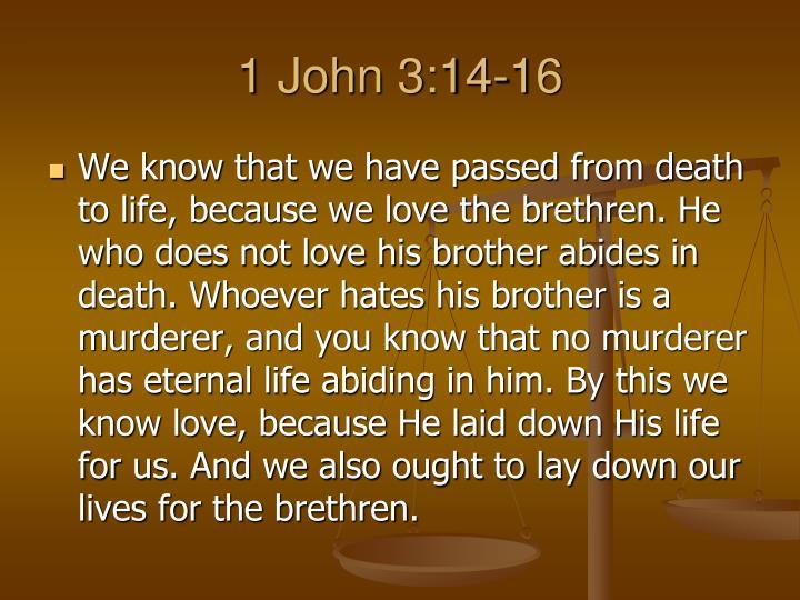 1 John 3:14-16