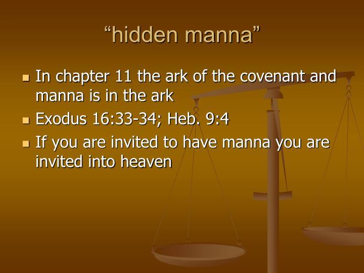 """""""hidden manna"""""""