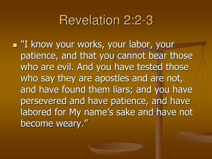 Revelation 2:2-3