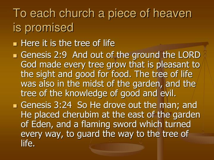 To each church a piece of heaven is promised