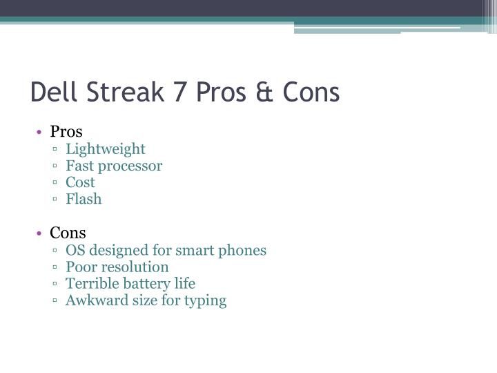 Dell Streak 7 Pros & Cons