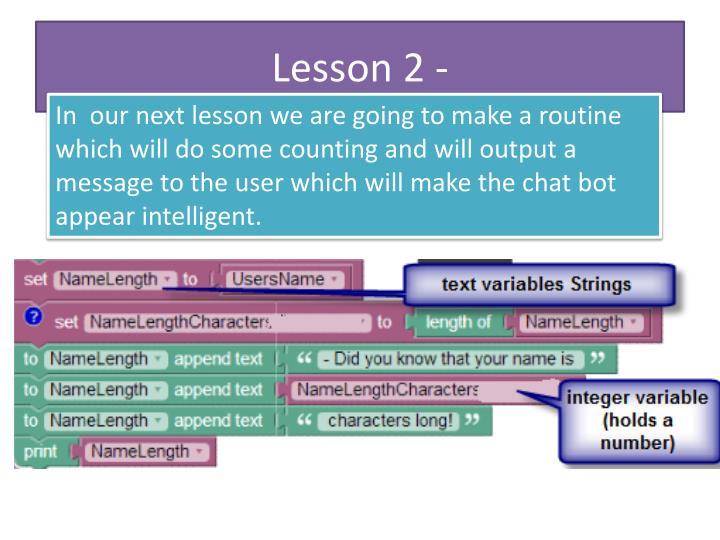 Lesson 2 -