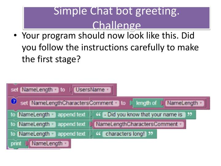 Simple Chat bot greeting.