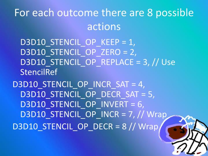 For each outcome there are 8 possible actions