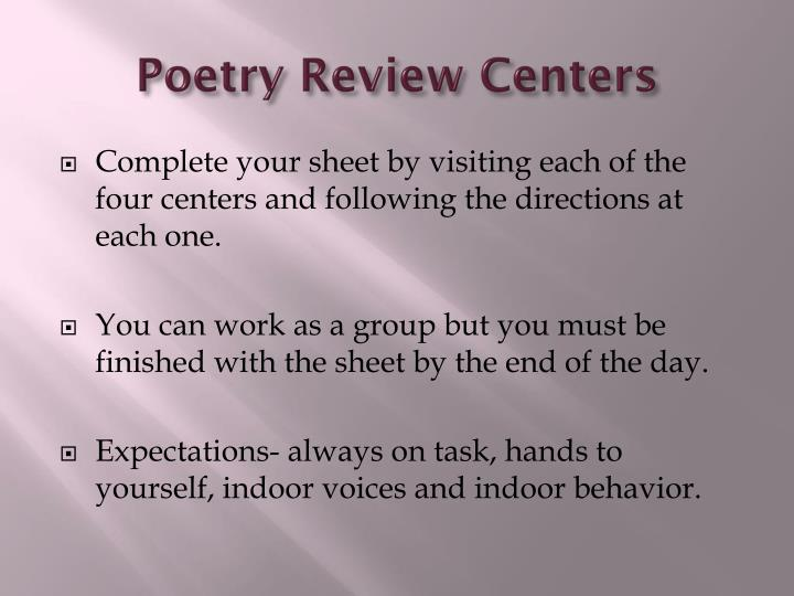 Poetry Review Centers