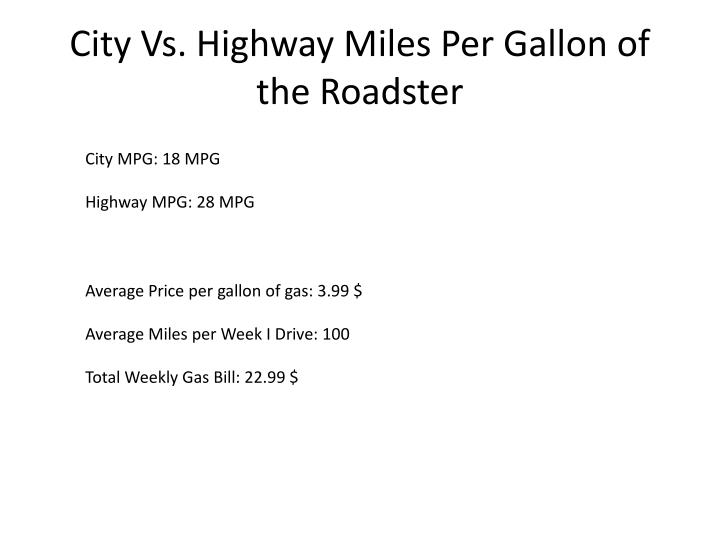 City Vs. Highway Miles Per Gallon of the Roadster