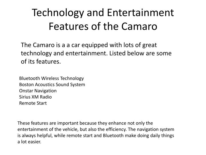 Technology and Entertainment Features of the Camaro