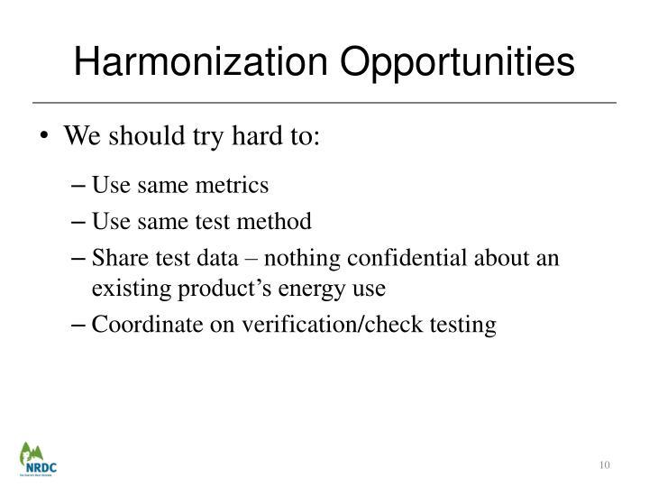 Harmonization Opportunities