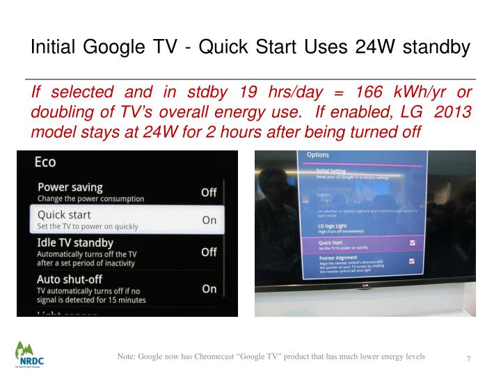 Initial Google TV - Quick Start Uses 24W