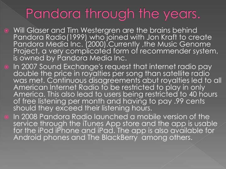 Pandora through the years.