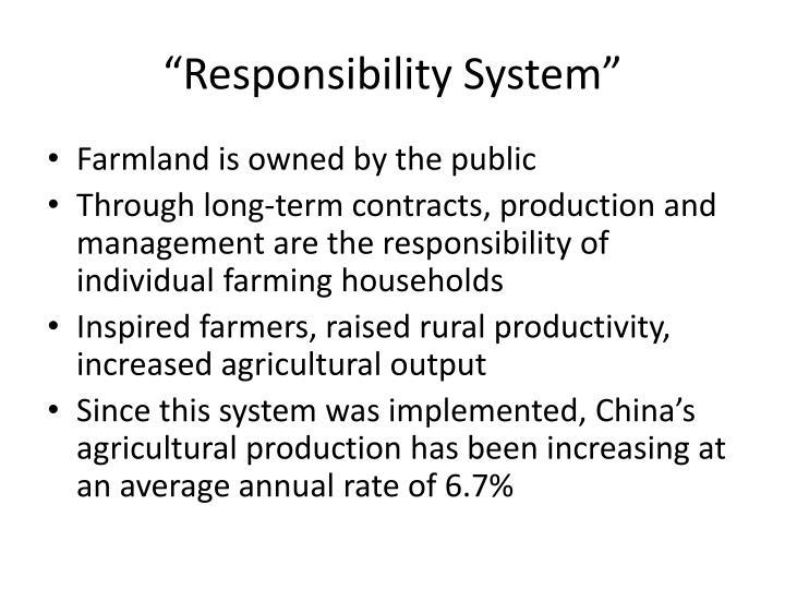 """Responsibility System"""