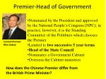 premier head of government