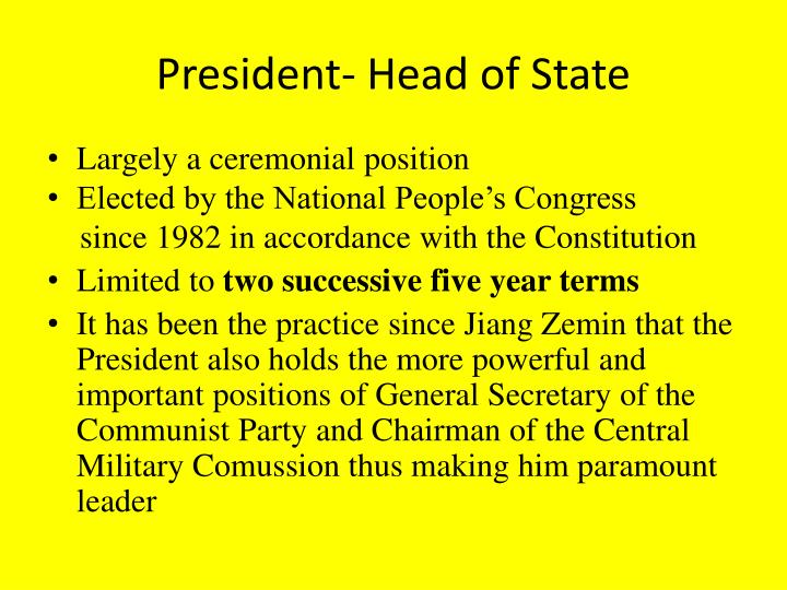 President- Head of State