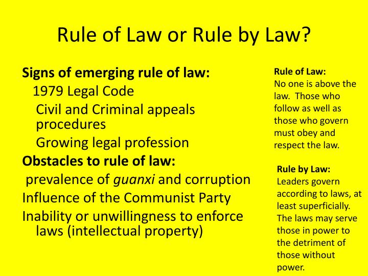 Rule of Law or Rule by Law?