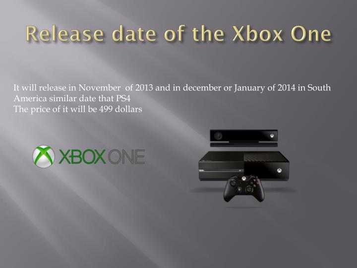 Release date o f the xbox one