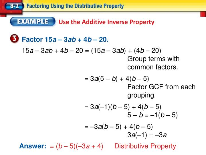 Use the Additive Inverse Property