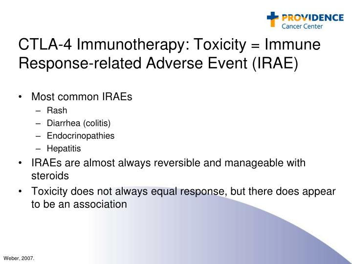 CTLA-4 Immunotherapy: Toxicity = Immune Response-related Adverse Event (IRAE)