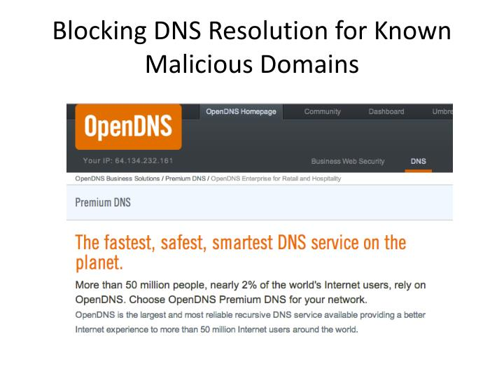 Blocking DNS Resolution for Known Malicious Domains