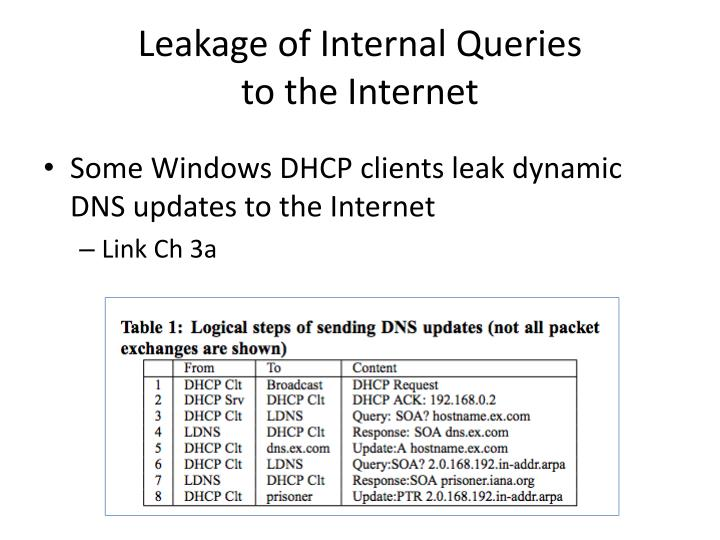 Leakage of Internal Queries