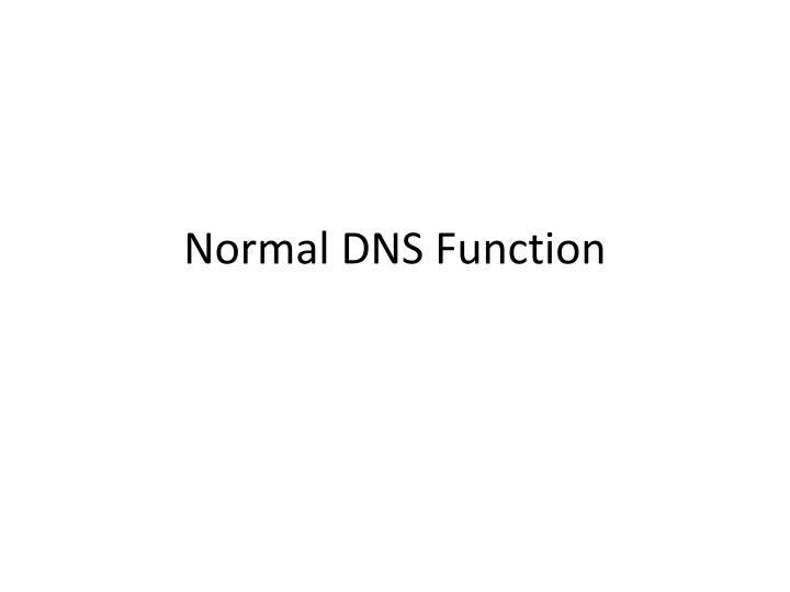 Normal DNS Function