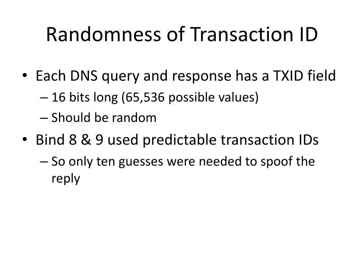 Randomness of Transaction ID