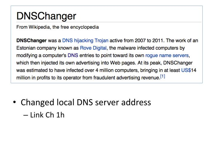 Changed local DNS server address