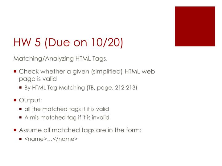HW 5 (Due on 10/20)