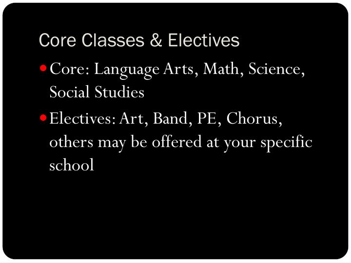 Core Classes & Electives