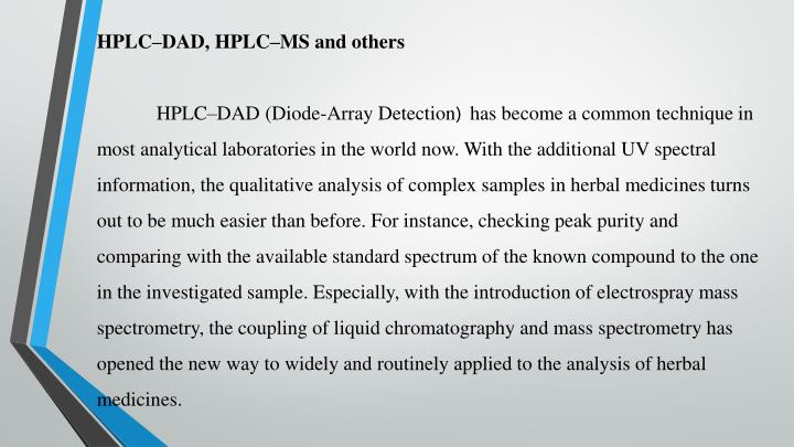HPLC–DAD, HPLC–MS