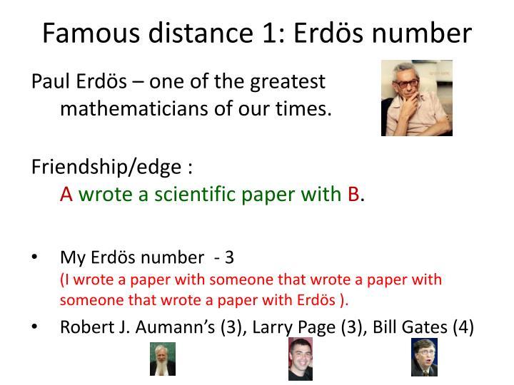 Famous distance 1: