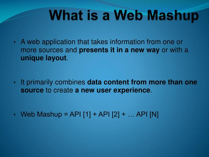 What is a web mashup