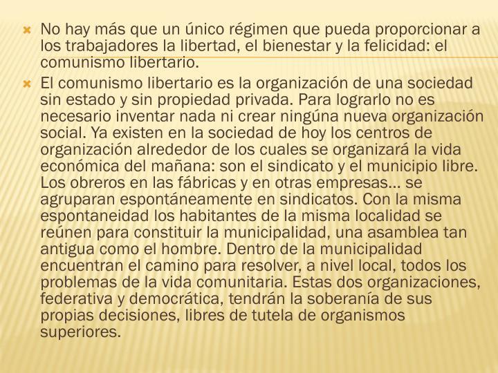 No hay más que un único régimen que pueda proporcionar a los trabajadores la libertad, el bienestar y la felicidad: el comunismo libertario.