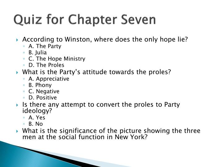 Quiz for Chapter Seven
